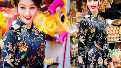 Quỳnh Châu đẹp rạng rỡ với áo dài truyền thống