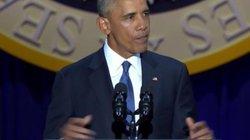 Obama rớm lệ khi nhắc vợ con trong bài phát biểu cuối cùng