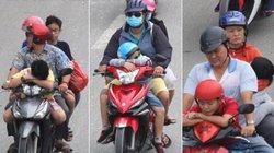 ẢNH: Trẻ thơ mệt nhoài theo bố mẹ về phố sau kỳ nghỉ Tết