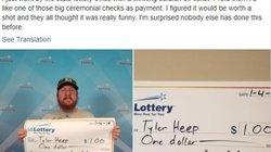 Thanh niên trúng thưởng 1 đô nhưng muốn được trao giải như... 1 triệu đô