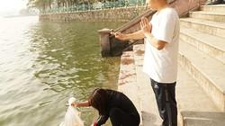 Ảnh: Vợ phóng sinh hàng trăm con cá trong lúc chồng niệm chú