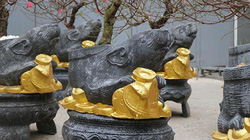 Độc đáo chuột cầm vàng cõng đào Nhật Tân bán chạy dịp Tết 2020