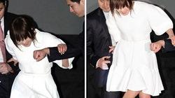 Người đẹp Hàn suýt ngã vì giày cao gót