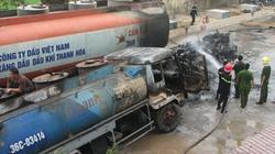 Xe chở dầu cháy ngùn ngụt, 2 người bỏng nặng