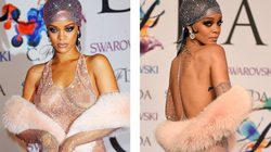 """Váy xuyên thấu """"phơi"""" nhũ hoa, quần lọt khe, Rihanna gây sốc trên thảm đỏ"""