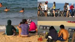 Thú tránh nắng nóng, vọc chân xuống cát ngồi hóng gió