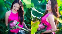 Thiếu nữ mặc yếm hồng e ấp bên hoa sen
