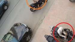 """Clip: """"Ninja"""" táo tợn bẻ khóa trộm SH ngay trên phố Hà Nội"""