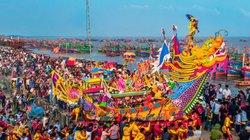Đám rước dài 2km tại Lễ hội Cầu ngư huyện Hậu Lộc