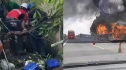 Clip hot tổng hợp: Giàn cẩu sập trúng người, xe giường nằm bốc cháy