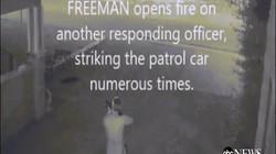 Khoảnh khắc tay súng Mỹ nã đạn xối xả vào cảnh sát tuần tra