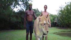 Video: Dắt hổ lai sư tử khổng lồ đi dạo, to lớn như quái vật