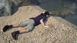 Hãi hùng cảnh cá sấu cắn tay người, lôi xuống hồ