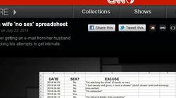"""CNN """"rúng động"""" trước bảng excel liệt kê chi tiết các ngày bị... vợ """"bỏ đói"""" sex"""
