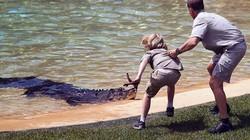 """Cậu bé  liều mình """"giỡn"""" mặt cá sấu để…mừng sinh nhật"""