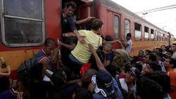 Cảnh xô đẩy, chen nhau lên tàu của dân nhập cư ở châu Âu