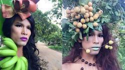 """Dân mạng """"điên đảo"""" vì anh chàng tạo dáng với rau quả"""