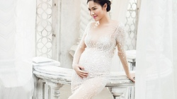 Vợ Đăng Khôi mặc đầm dạ hội khoe bụng bầu 7 tháng