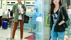 Sao Việt sành điệu với giày bệt, jeans rách ở sân bay