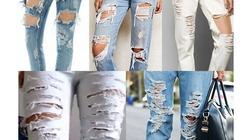 """""""Chế"""" jeans rách, mài chỉ bằng dao gọt hoa quả"""