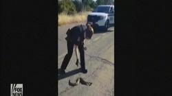 Nữ cảnh sát Mỹ giật đùng đùng khi bắt rắn trên đường