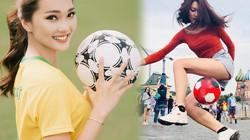 """Hoa khôi Nghệ An diện quần đùi áo số vì """"phát cuồng"""" tuyển Brazil"""