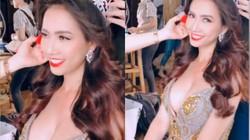 HH Phan Thị Mơ tung clip hậu trường mặc váy khoét sâu vòng 1 gợi cảm