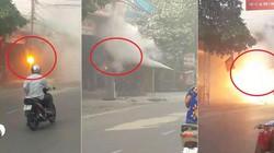 Dí bình cứu hỏa dập lửa cột điện đang cháy dữ dội gây tranh cãi 'chết thôi'