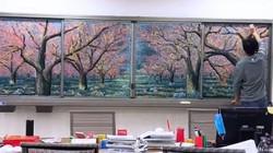 Thầy giáo nổi tiếng vì những bức tranh vẽ bằng phấn đỉnh cao