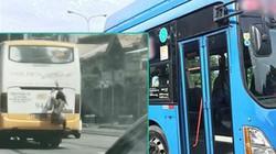 """""""Người nhện"""" đu sau xe bus để đi chui ở Philippines"""