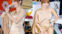 Minh Hằng đẹp nhất tuần với váy lụa bất đối xứng