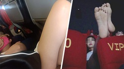 Gái trẻ mặc váy ngắn nằm gác chân trên máy bay, trong rạp chiếu phim HOT nhất tuần