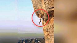 Thót tim người đàn ông leo núi dựng đứng không thiết bị an toàn