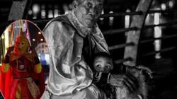 Cảm động hình ảnh ông già mặc đồ Tôn Ngộ Không bán kẹo nuôi cháu