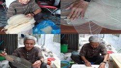 Lạ Huế: Ông lão nhặt lá bàng làm nón độc đáo, tinh khôi, trong suốt