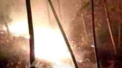 Trực thăng nổ tung, lao xuống đất, rừng cháy rừng rực