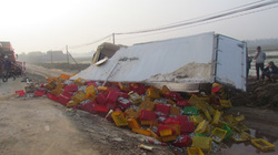 Xe tải chở 8 tấn cá lật, dân giúp tài xế gom hàng