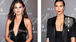 Selena Gomez diện váy xẻ sâu hun hút, đọ ngực với cô Kim