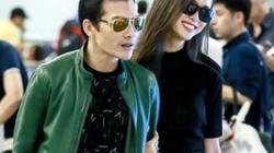 Vũ Ngọc Anh tình tứ với Trần Bảo Sơn tại sân bay