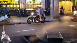 Hố ga nổ tung trên phố SG, khói lửa bốc lên cuồn cuộn