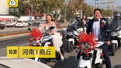 """Màn rước dâu """"bá đạo"""", cô dâu tự điều khiển xe mô tô phân khối lớn"""