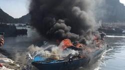 Tàu khách bốc cháy dữ dội tại cảng Cái Rồng