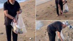 """Thân thế """"khủng"""" của người đàn ông đi chân trần nhặt rác trên bãi biển"""