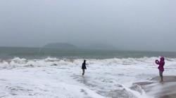 Bão số 6: Bất chấp nguy hiểm, du khách chen nhau ra biển chụp ảnh