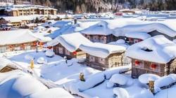 Tuyết phủ trắng xóa khiến ngôi làng như bước ra từ cổ tích