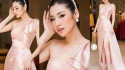 Á hậu Tú Anh mặc váy hồng nude xẻ cao quyến rũ hút mắt, dễ gây nhìn nhầm
