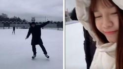 """Clip: Văn Lâm trổ tài trượt tuyết trước mặt bạn gái và cái kết """"sấp mặt"""""""