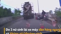Nữ sinh suýt bị cuốn vào xe bồn vì lái xe dàn hàng ngang