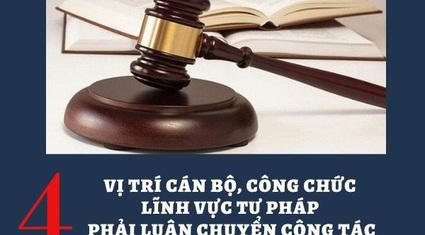 Cán bộ công chức nào thuộc lĩnh vực tư pháp phải luân chuyển vị trí?
