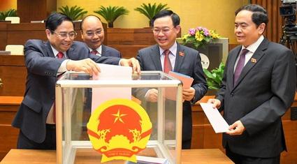 Số phiếu đồng ý, không đồng ý khi Quốc hội phê chuẩn việc bổ nhiệm 2 Phó Thủ tướng, 12 Bộ trưởng, Trưởng ngành